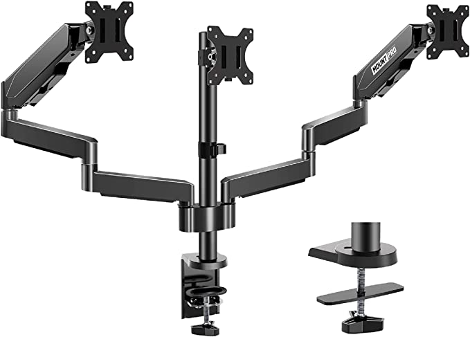 Amazon.com : MOUNTPRO Triple Monitor Desk Mount - Articulating Gas Spring Monitor Arm, Removable VESA Mount Desk Stand with Clamp and Grommet Base - Fits 13 to 27 Inch LCD Computer Monitors, VESA 75x75, 100x100 : Electronics