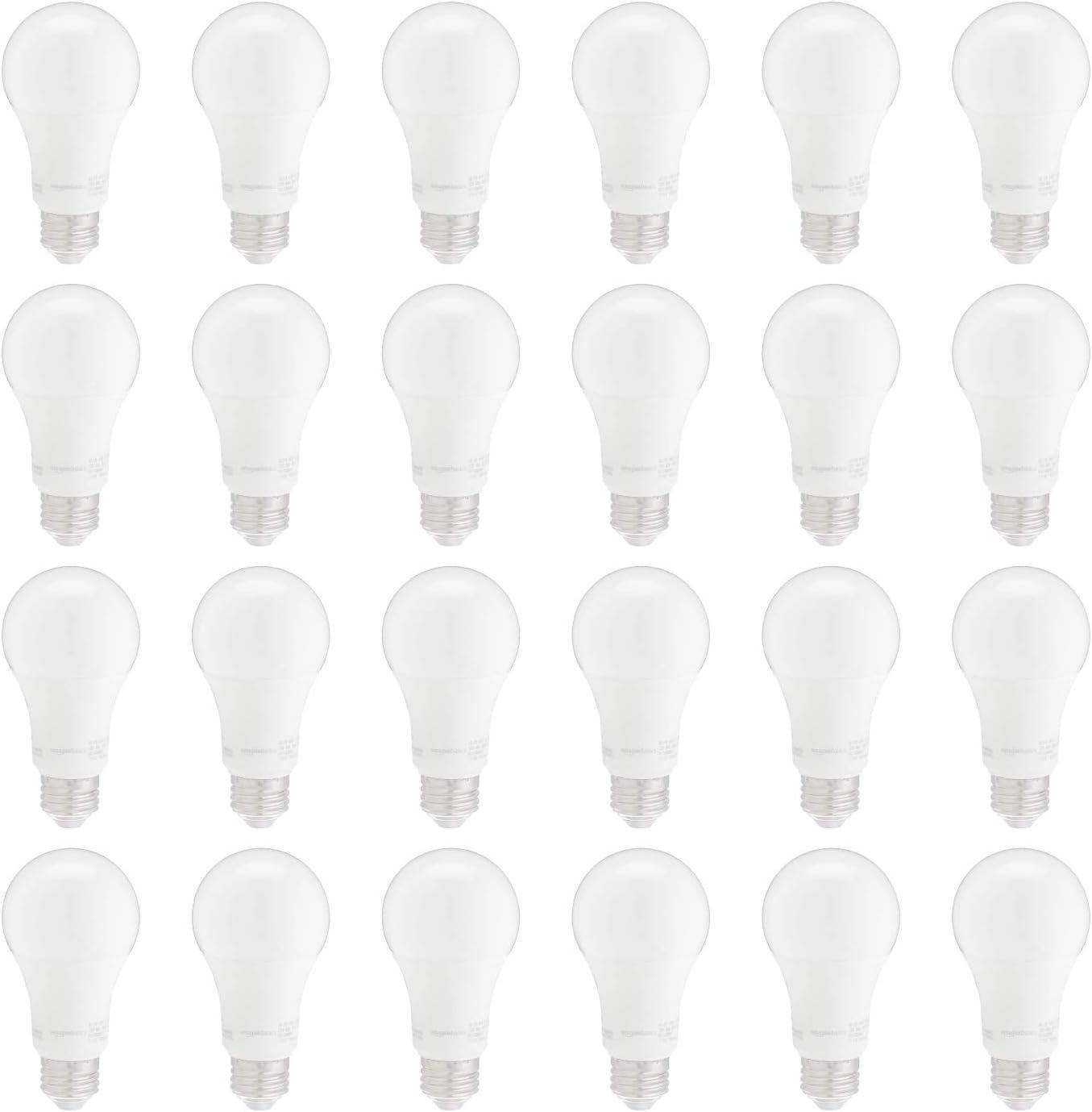AmazonBasics 100W Equivalent, Soft White, Non-Dimmable, 10,000 Hour Lifetime, A19 LED Light Bulb | 24-Pack