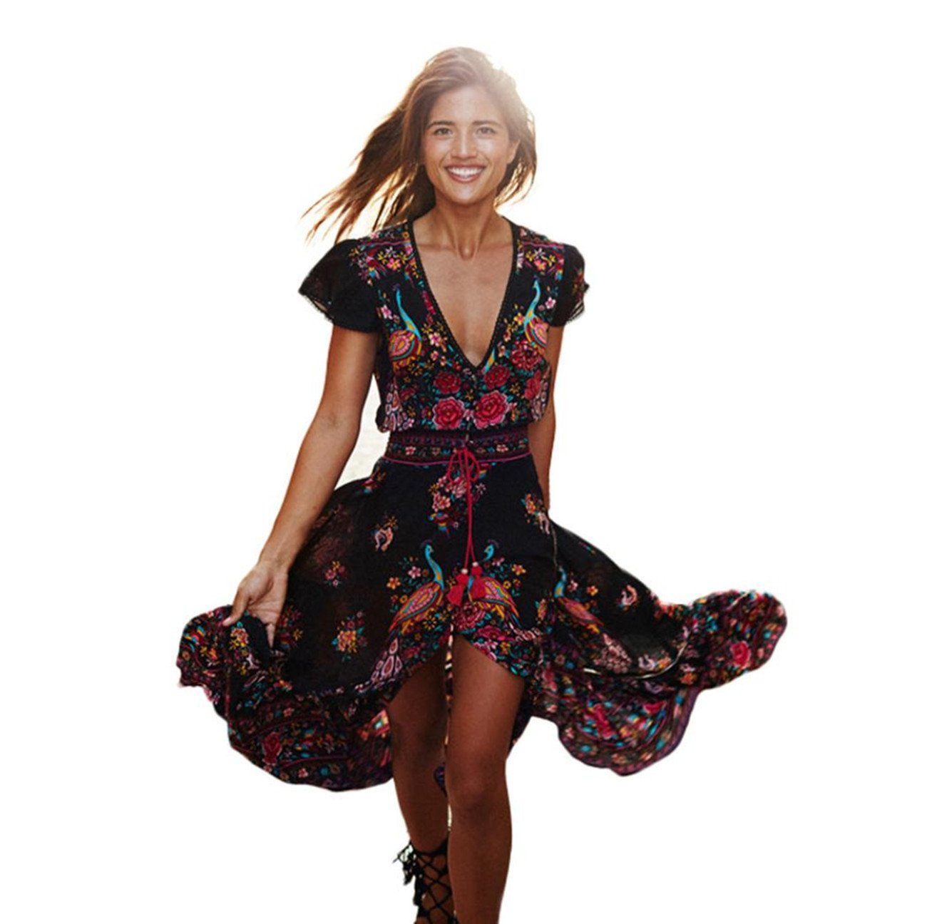 Taore Women Print Floral Retro Palace V-Neck Beach Dress Evening Party Dress, XS~L (XS, Black)