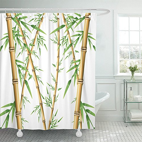 Emvency Shower Curtain Polyester Print 72x72 Inches Abstract Bamboo Forest Spa Nature Plant Tree with Leaves Branch Climate Drawing (Bamboo Coral Branch)