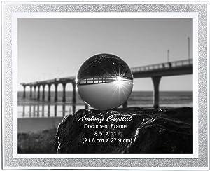 Amlong Crystal Sparkle Mirror Glass Document Frame 8.5 x 11 Inch Document Frames, Certificate Frames, Standard Paper Frame