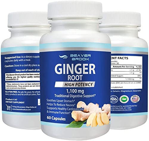 Beaver Brook Ginger Root High Potency 1,100mg All Natural, Non-GMO, Dietary Supplement, Gluten Free – 60 Capsules