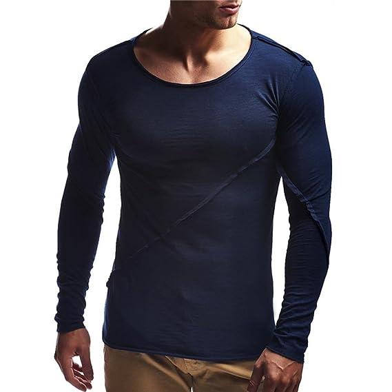 Btruely Herren_camisetas de Hombres de Manga Larga Blusa Suelto Sudaderas de Cuello Redondo de otoño Top Blusa Suave Pullover: Amazon.es: Ropa y accesorios
