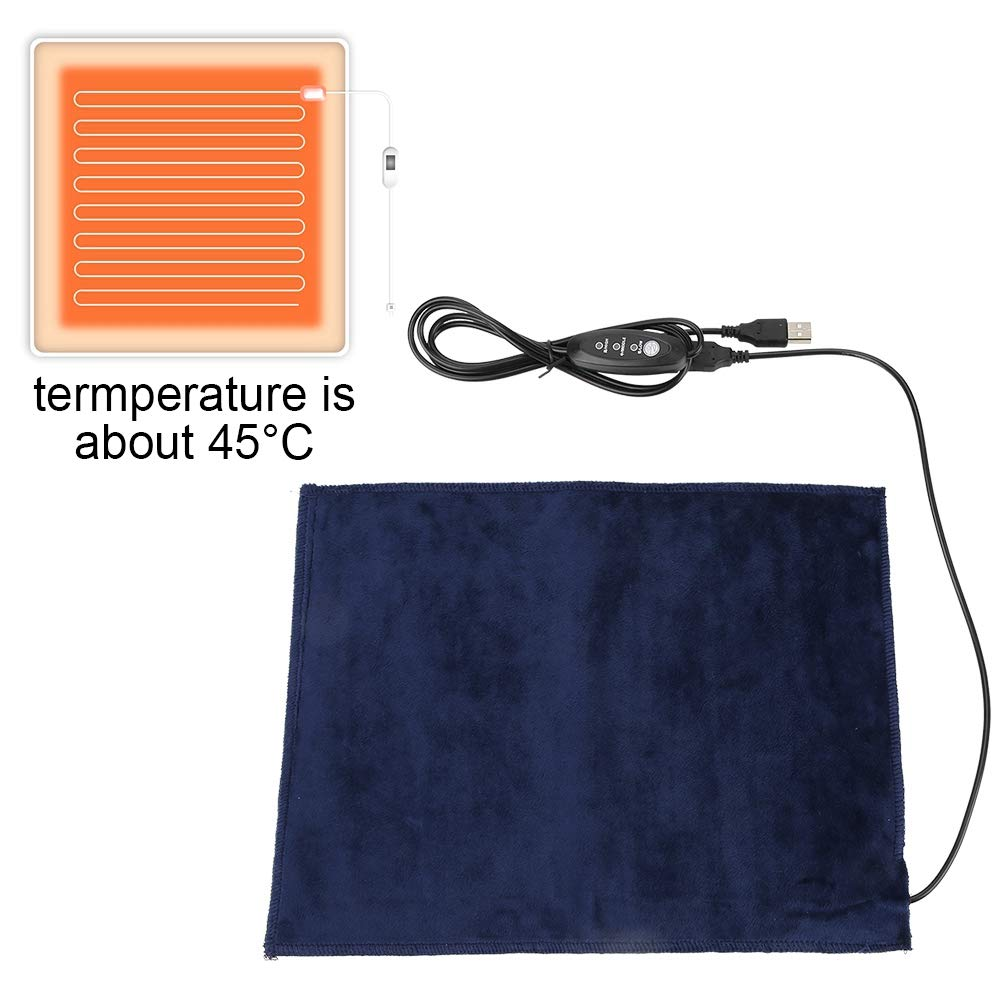 Heating Pad for Pets,5V 2A USB Electric Heating Pads for Back Pain Auto Shut Off, Can Washed with Water,for Warming Shoulder, Neck, Back, and Cushion or Pet Bed 24X30cm 45℃