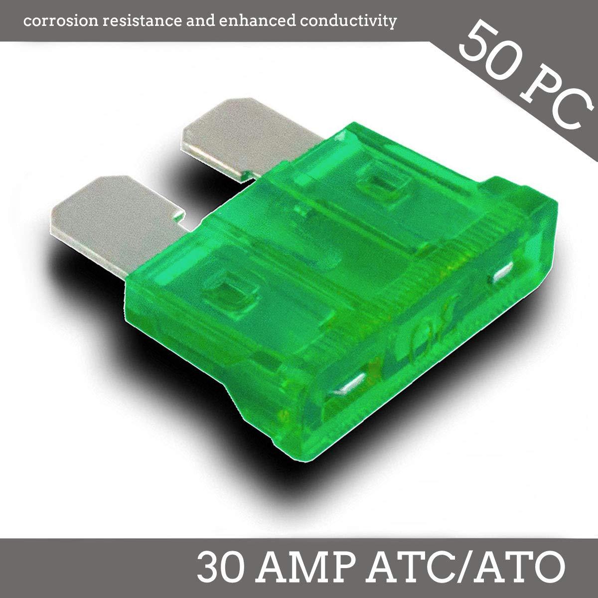 Deepa 50 Pack 30 AMP ATC//ATO Standard Regular Fuse Blade 30A Car Truck Boat Marine RV