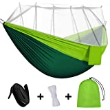 Rusee Camping Hammock, Mosquito Net Outdoor Hammock Travel Bed Lightweight Parachute Fabric Double Hammock for Indoor…