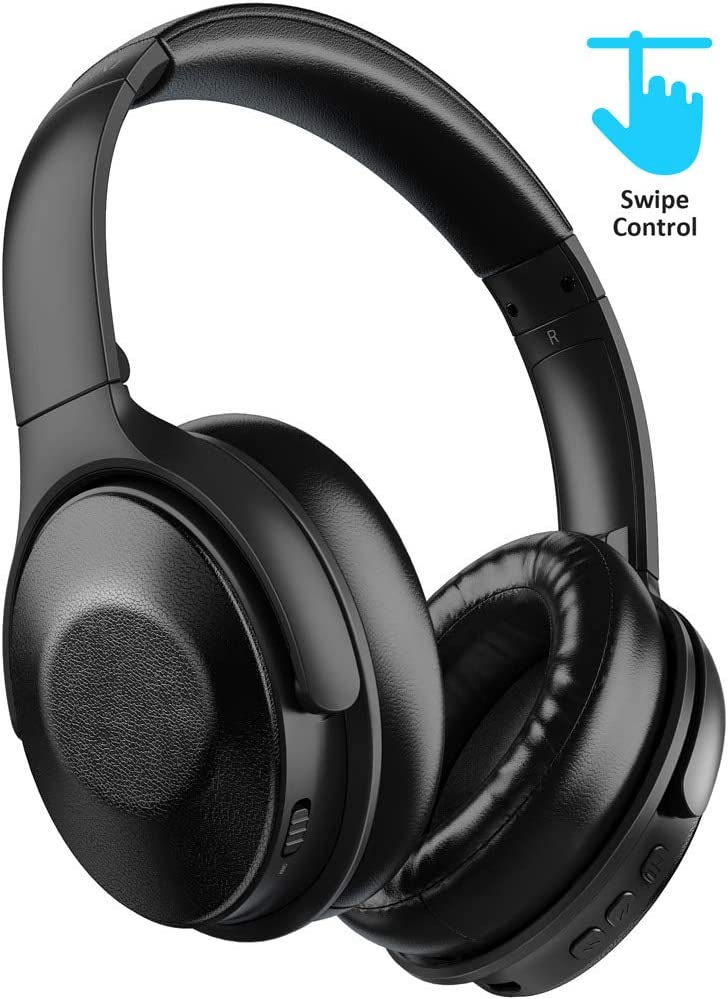 Active Noise Cancelling Headphones Bluetooth 5.0 Wireless Headphone, MEBUYZ Touch Control Quick Charge Over Ear with Mic Hi-Fi Sound 30 Hours Playtime ANC Headset, Soft Protein Earpads with PU Leather