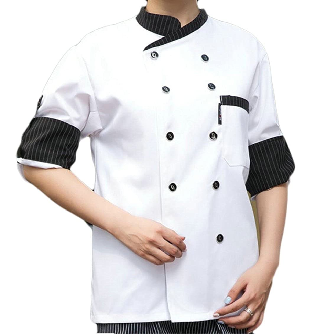 QD-CACA Men's Classic Chef Uniforms Long Sleeve Chefs Work Clothes