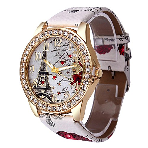 (Watches for Women,Ladies Classy Tower Pattern Leather Band Analog Quartz Vogue Wrist Watches Yamally (White ))