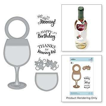 Amazon.com: Spellbinders Wine Glass Bottle Tag Stamp & Die Set: Arts, Crafts & Sewing
