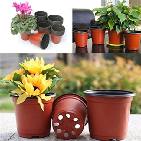 10 pcs plástico redondo flores maceta decorativa jardín maceta contenedor con orificio de drenaje planta flores maceta: Amazon.es: Jardín