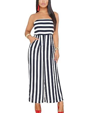 Youtodress Women S Stripes Strapless High Waist Flare Long Clun