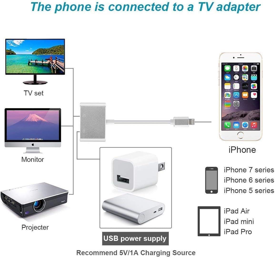 Adaptador Lightning a HDMI, conversor de cable de iPhone a HDMI ...
