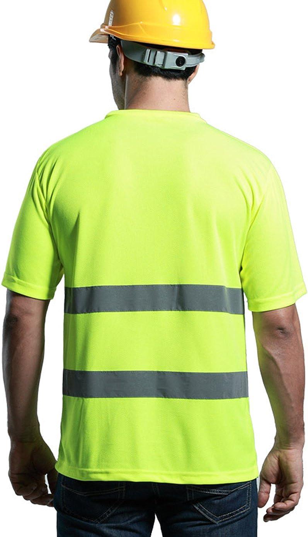 Panegy Reflektierendes Sicherheits-T-Shirt Fabrik Bauen Kurzarm Hohe Sichtbarkeit Tees Tops mit Reflektorstreifen