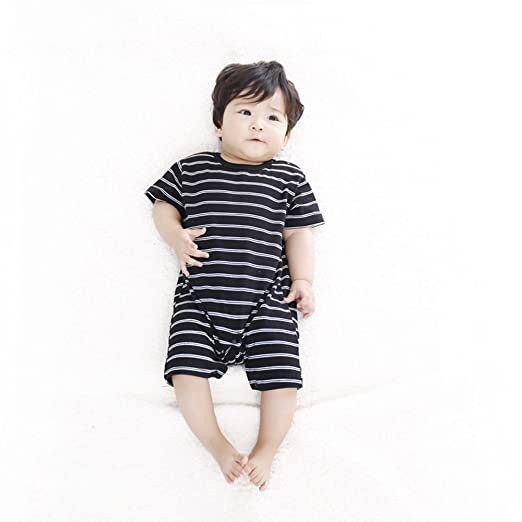 Ding Dong Baby Boys Girls Striped Romper Black3 6m
