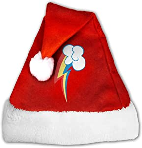 Rainbow Dash Cutie Mark Adults Classic Velvet Christmas Hats for New Year Santa Xmas Party