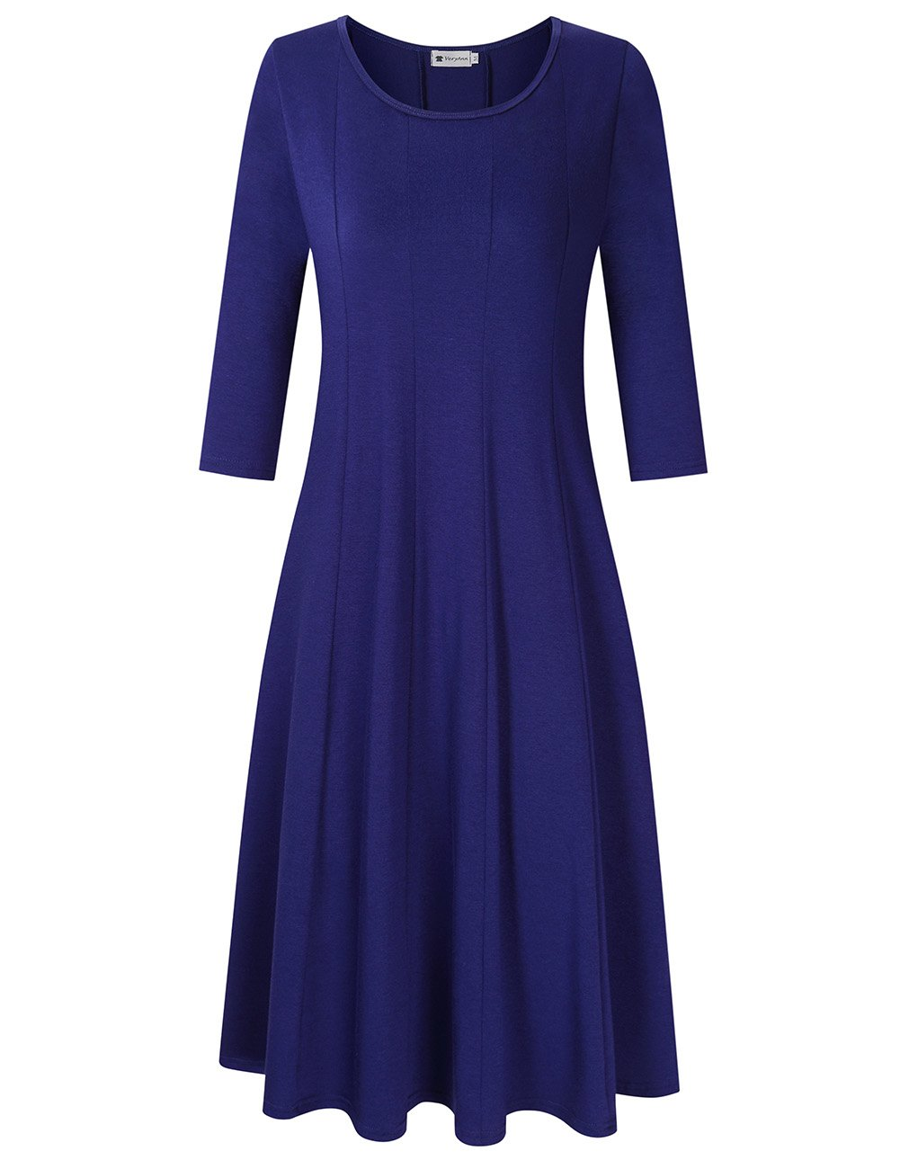 Women's 3/4 Sleeve A-Line Long Midi Dress Blue M