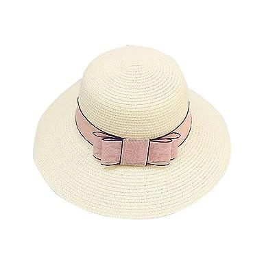 ec4c922689aec9 Pluto & Fox Summer Beach Caps Sun Straw Hat with Bow (Beige): Amazon ...