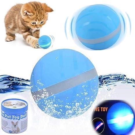Volwco Pelota eléctrica USB para Mascotas, Pelota de Flash con Ruedas LED para Mascotas, Juguete Interactivo para Mascotas, Juguetes para Cachorros, ...