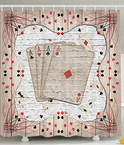 Casino Decorations Playing Cards Lover Design Gambler Accessories Las Vegas Memorabilia Poker Man Gambling Decoration Item Bathroom Lucky Decor Decorative for Guys Fun Shower Curtain Beige Red -