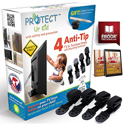 Price comparison product image [Full Kit] Anti Tip Furniture Anchor TV Straps w / Ultra-Strong Wall Mounting Hardware & Safety Stud Finder Locks-In Heavy Objects for Instant Earthquake,  Child & Baby Proofing (4 Set) by Protect Ur Kid