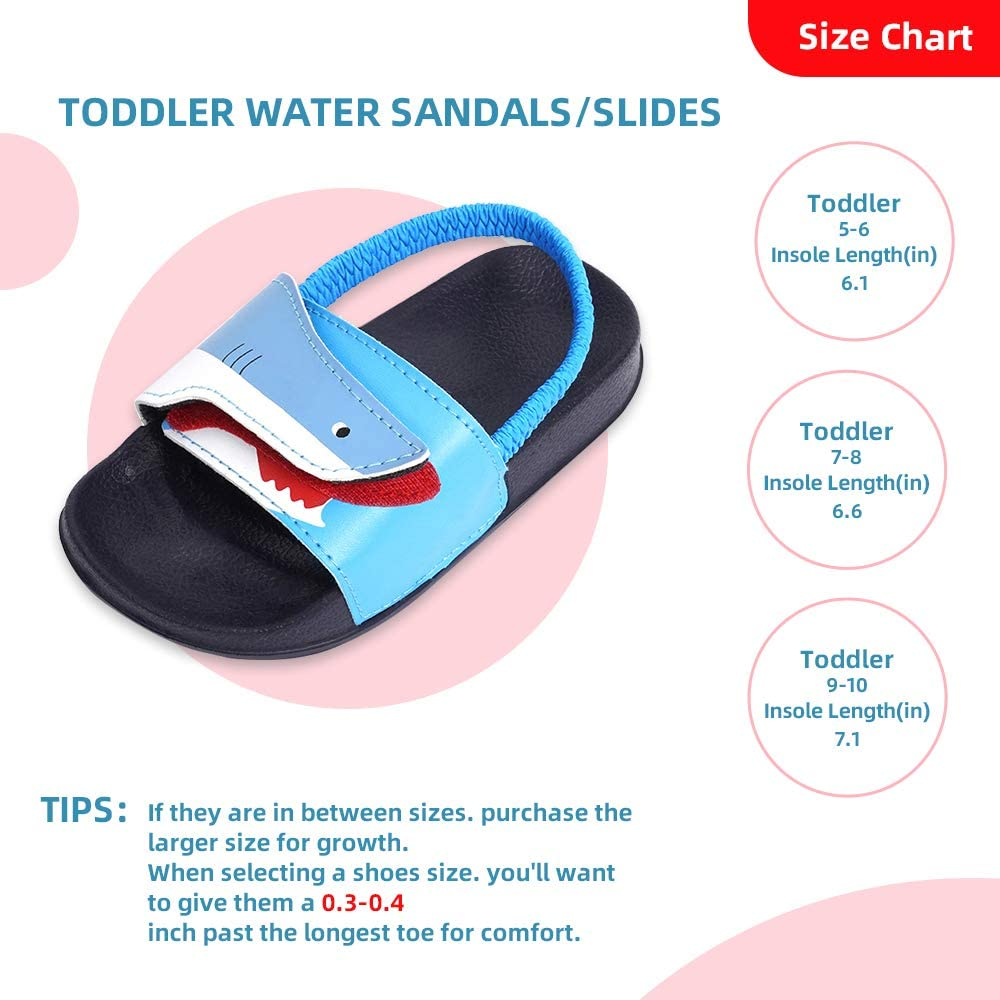FUNKYMONKEY Toddler Boys /& Girls Slides Sandals Kids Outdoor Beach Pool Water Shoes