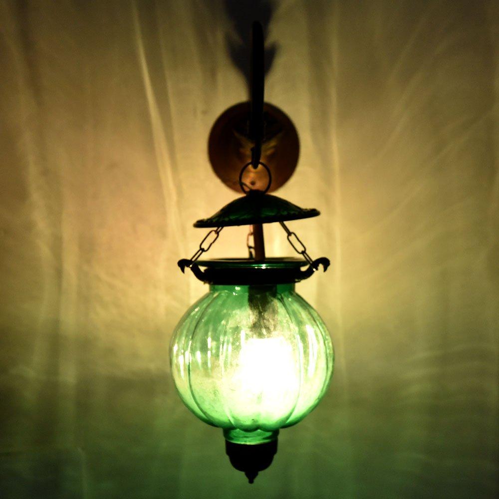 Handmade Vintage Melon Shaped Glass Green Wall Lighting Lamp Sconces Hanging Bronze Bracket