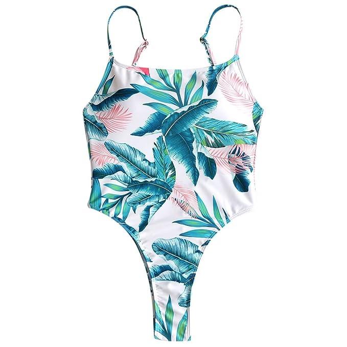 643dd33e1c4ef ZAFUL Womens One Piece Monokini Tropical Leaf Print High Cut ...