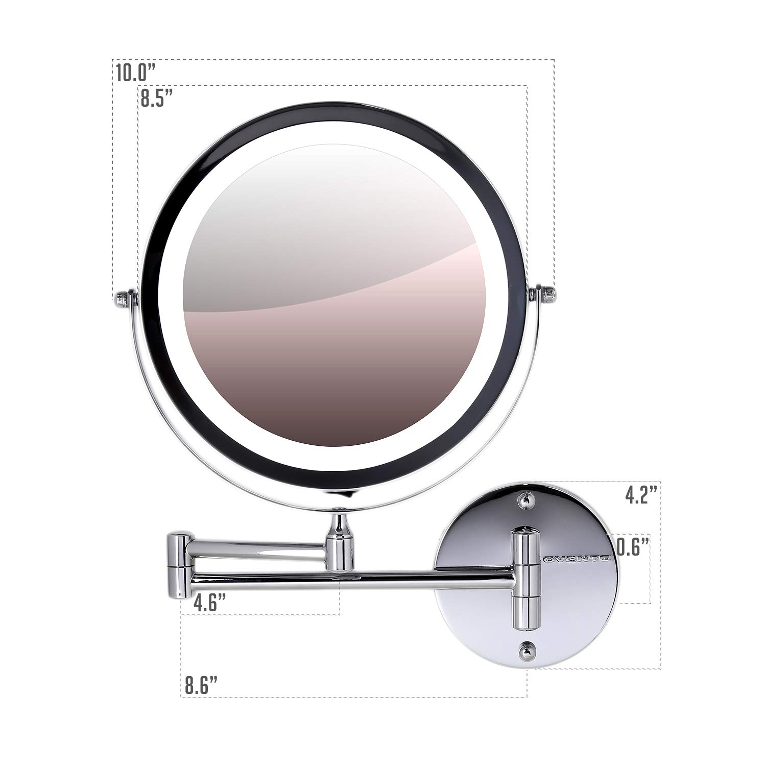 Ovente Wall Mounted Vanity Makeup Mirror 8.5 Inch with 7X Magnification and LED Light MFW85ABZ1X7X 360 Degree Swivel Rotation with Distortion Free View 4 AAA Batteries Operated Antique Bronze