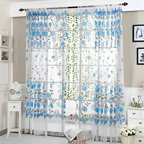 (Lanhui_Exquisite Peony Sheer Curtain Tulle Window Treatment Voile Drape Valance 1 Panel Fabric (Design A, Blue))