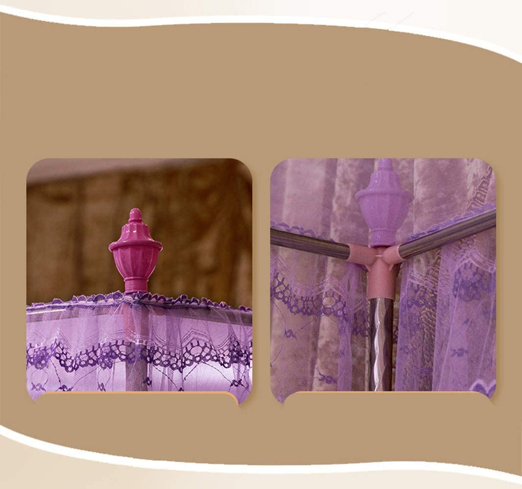 SanQing Mosquito Netting Pink Princess 4 Corners Post Bed Curtain Canopy Mosquito Netting Including Tents And Frames,Pink,1.2x2.0mbed16mmH