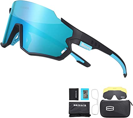 RockBros Polarized Cycling Glasses Blue White Three Interchangeable Lens