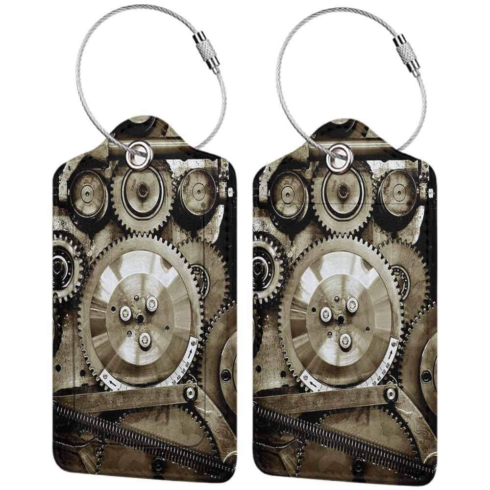Multi-patterned luggage tag Industrial Decor Pieces of Old Mechanism Close Up Gears View Grunge Antique Cogs Technical Image Double-sided printing Sepia W2.7 x L4.6