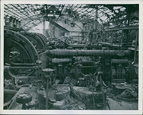 Vintage photo of Machine in the coal gas plant destroyed by U.S. Allied bombing.