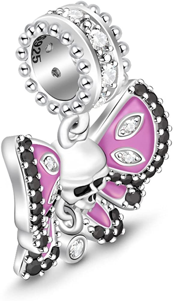 """GNOCE Heart Skull Charm Beads 925 Sterling Silver""""Love You Till Death"""" Charms Fit for Bracelets & Necklaces Jewelry Gift for Women Mens Butterfly Skull"""