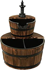 FANTASK 2 Tier Barrel Waterfall Fountain, Outdoor Barrel Water Fountain with Hand Pump Rustic Solid Wood Construction, Outside Cascading Waterfall Fountain for Garden, Backyard, Patio, Porch, Yard