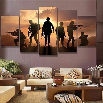 zxfcczxf sans Cadre 5 Pièces Battlefield Soldats Maison ...