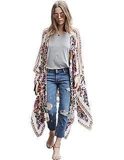 Damen Blumen Cardigan Bikini Cover Up Vertuschen Mantel Strand Baggy Bluse Tops