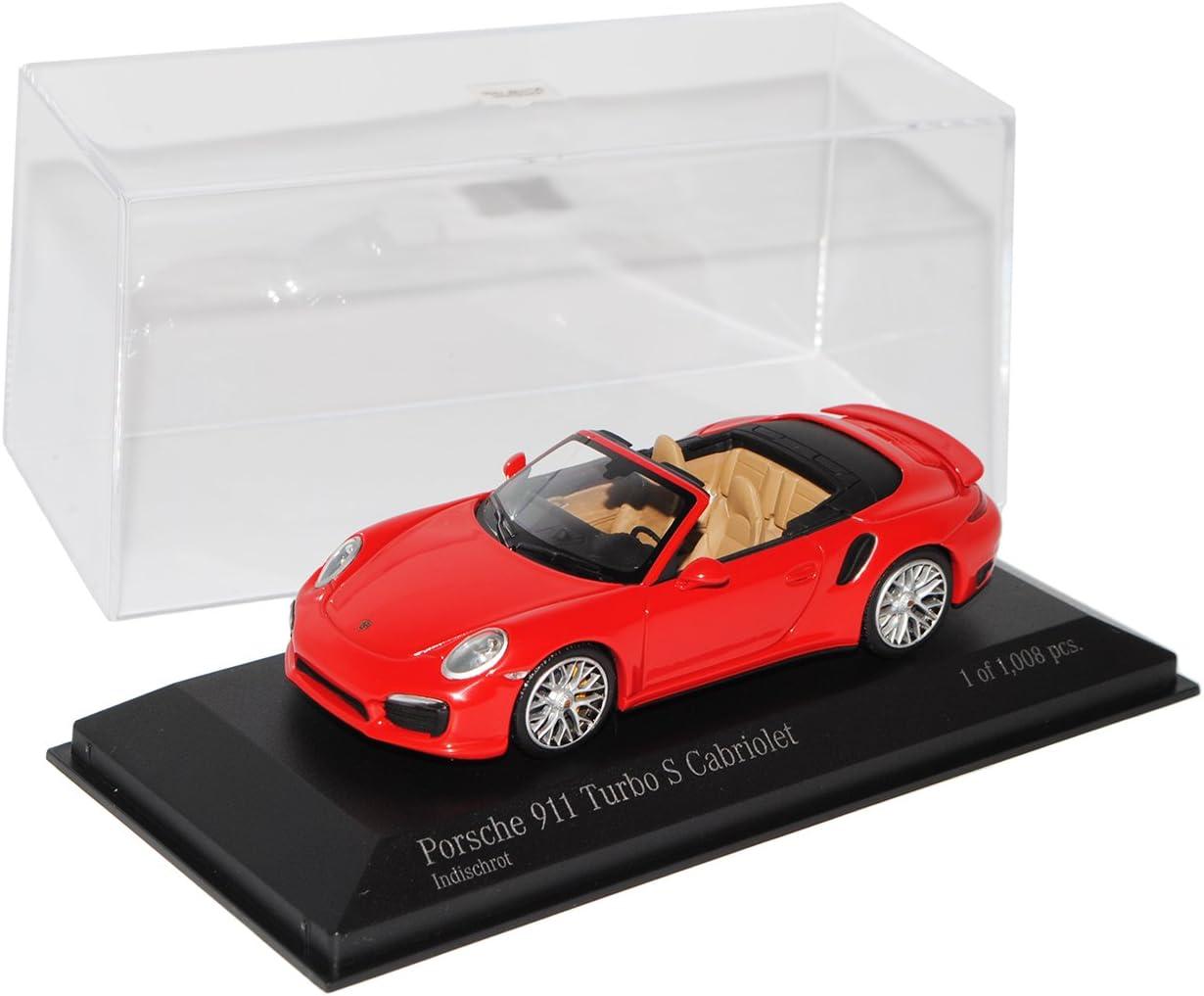 Minichamps Porsche 911 991 Cabrio Turbo S Rot Ab 2012 1 43 Modell Auto Mit Individiuellem Wunschkennzeichen Spielzeug