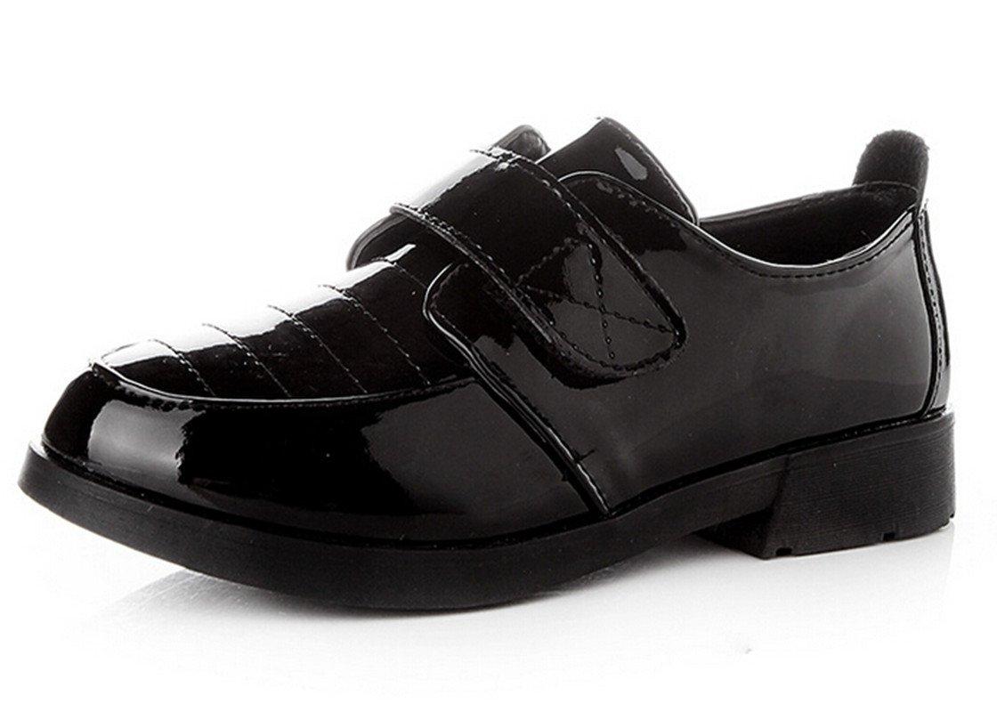 Bumud Kids PU Leather Uniform Dress Shoe Oxford (Toddler/Little Kid/Big Kid) (2 M US Little Kid, Black)