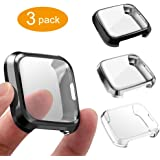 3 Packs Screen Protector Compatible Fitbit Versa Lite Edition, GHIJKL Ultra Slim Soft Full Cover Case for Fitbit Versa…