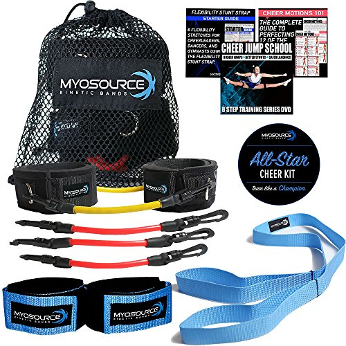 Kinetic Bands All-Star Cheer Kit for Improving Cheerleader Fitness and Performance, Flexibility Stunt Strap, TumblePro X, Cheerleading Workout DVD (User Weight is Less Than 110 lbs or 50 -