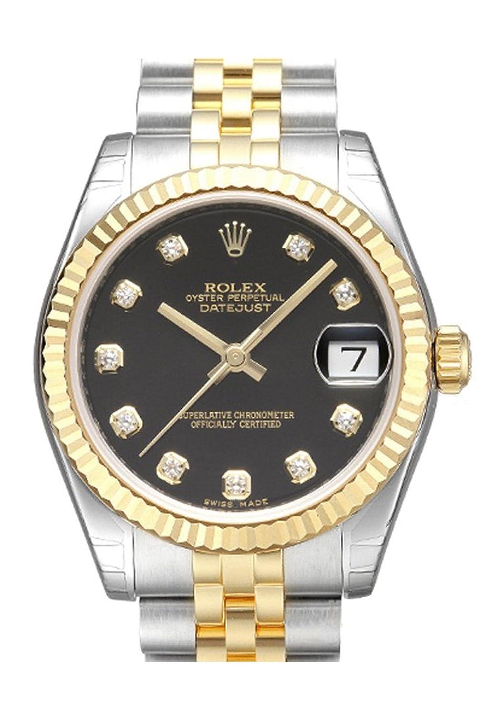 Rolex Datejust 31ブラックダイヤルセットダイヤモンド鋼と黄色ゴールドレディース時計178273 B06XPJV5W7