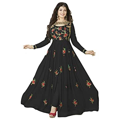 3829ccd887 Amazon.com: Georgette Fabric Heavy Embroidered Designer Floor Length Anarkali  Salwar Suit with Nazmeen Chiffon Dupatta: Clothing