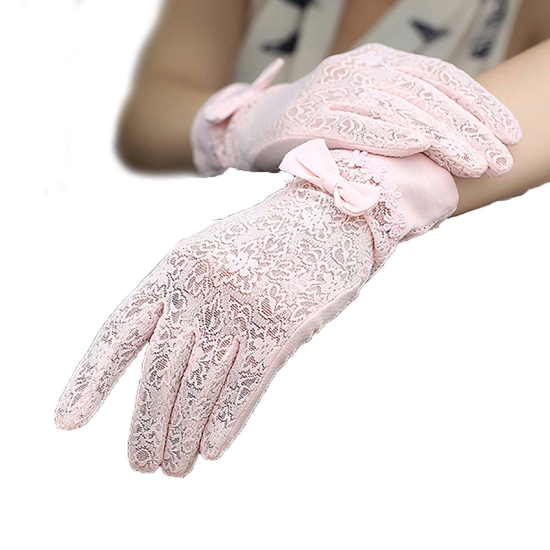 URSFUR Damen schickEe Hochwertige Netz Sommer Sonnenschutz Handschuhe Netzhandschuhe spitzenhandschuhe Fahrradhandschuhe mit Schmetterling