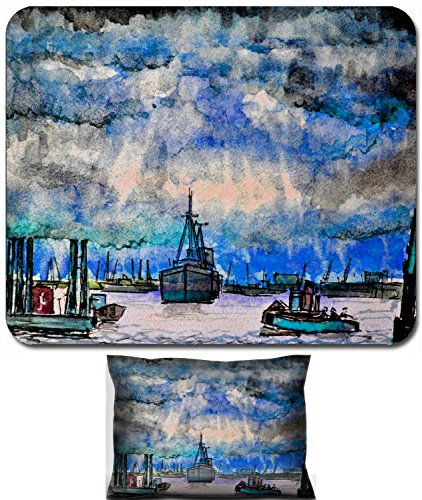 Watercolor Harbor - Luxlady Mouse Wrist Rest and Small Mousepad Set, 2pc Wrist Support design IMAGE: 39180949 Harbor Watercolor art illustration