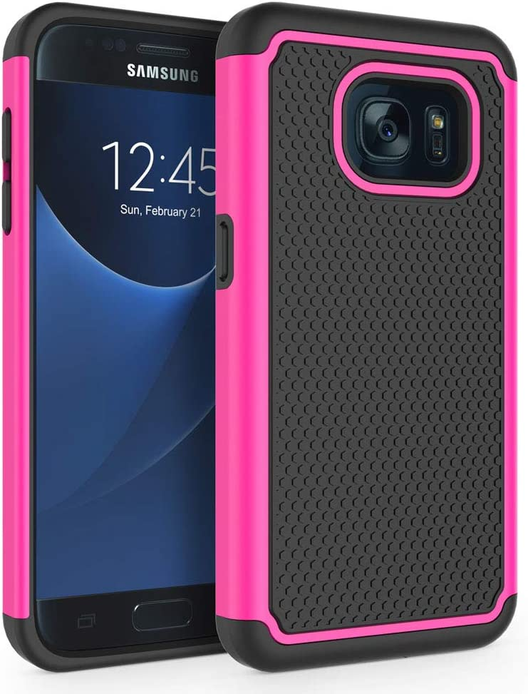 "Galaxy S7 Case, SYONER [Shockproof] Defender Protective Phone Case Cover for Samsung Galaxy S7 (5.1"", 2016) [Hot Pink]"