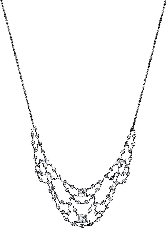 Black-Tone Black Beaded Necklace 16 Adj.
