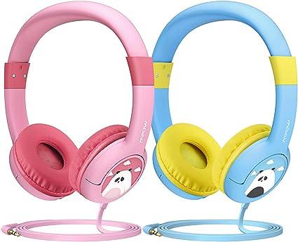 Mpow CH1 Auriculares para niños(2 pack), Auriculares Infantiles, Puerto de Audio Compartido, Límite De Volumen De 85dB, Sonido Estéreo, Súper Ligero, Material seguro, Material Suave, Diadema Acolchada: Amazon.es: Electrónica