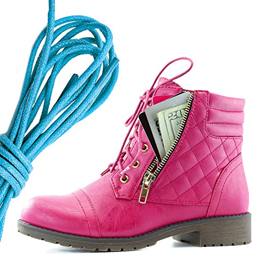 DailyShoes Womens Military Lace Up Buckle Combat Boots Ankle High Exclusive Credit Card Pocket, Blue Hot Pink Pu